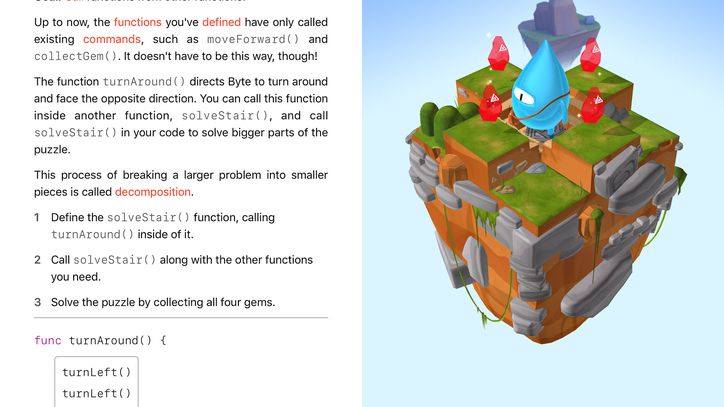 Apple's Swift Playgrounds app introduces computer science concepts like decomposition, or breaking one large task into several smaller, more manageable ones.