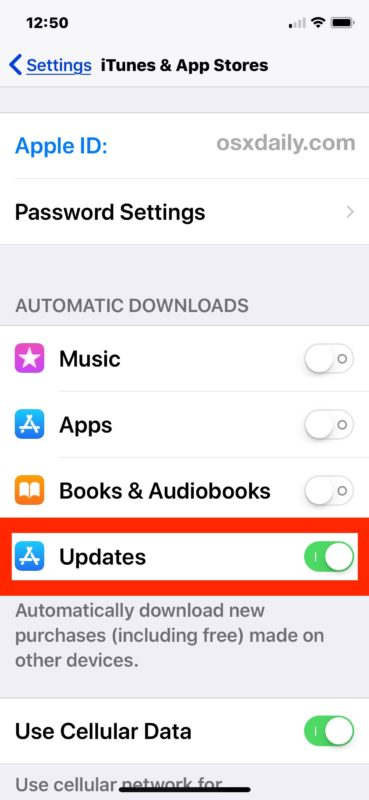 How to enable automatic app store updates in iOS