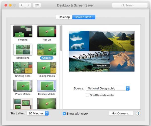 Default screen saver location in Mac OS
